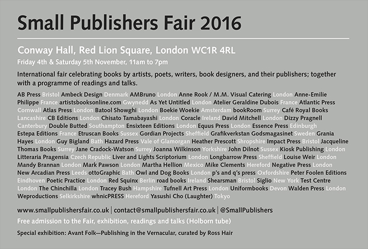 Small Publishers Fair 2016